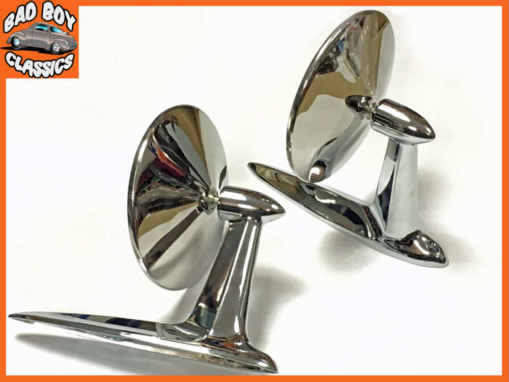 Pair OE Quality Classic Car Door Wing Mirrors Longbase Stainless Steel