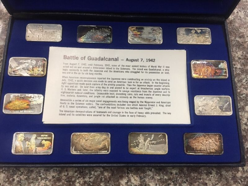 History Of World War II Sterling Silver Ingots - Great Events Pacific Theater