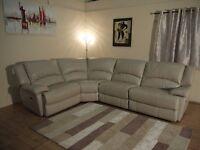 Ex-display Ronson light grey leather electric recliner corner sofa