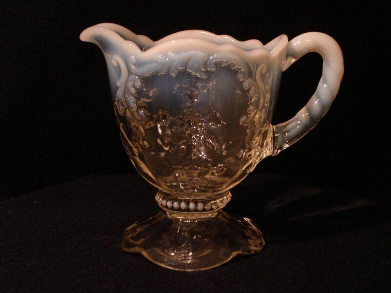 Northwood Victorian White Opalescent Intaglio Pattern Creamer