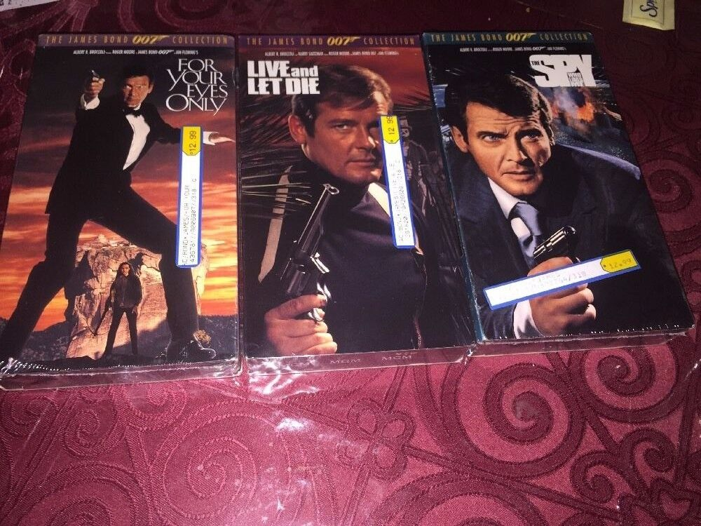 3 VHS Live And Let Die, For Your Eyes Only, The Spy James Bond Roger Moore New - $4.79