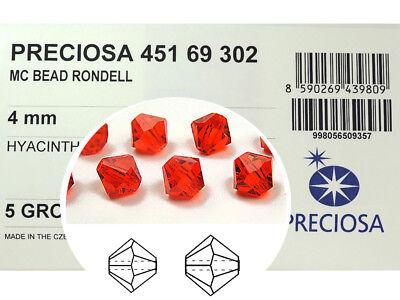 720 Preciosa Genuine Czech Crystals, Bicone Beads 4mm Hyacinth, orange