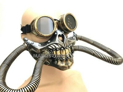 NEW Steampunk wasteland Halloween Costume Party Goggles Gas Mask with Hoses](Halloween Costumes With Mask)