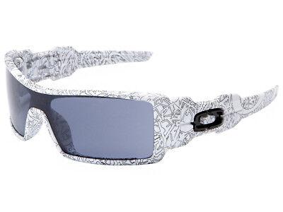 Oakley Oil Rig Sunglasses 03-461 White/Text Print/Grey Oakley Print Sunglasses