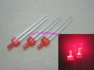 100pcs 2mm Red Diffused Led Diodes Flat Top Leds Light Red Lens Free Shipping
