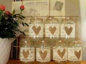 10 Vintage Centre Pieces Glass Jars Shabby Chic - NEW