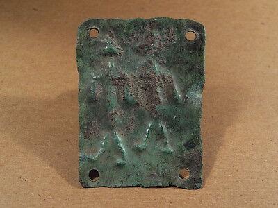 ANCIENT BRONZE PLAQUE 2 DEITIES IMAGE PHOENICIAN 1300-900 BC