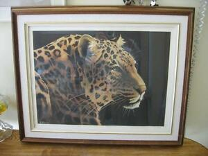 LARGE SIZE LEOPARD PRINT BY FURGUSON , SIGNED  AND NUMBERED .