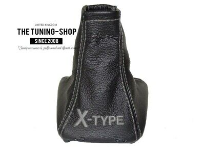 """For Jaguar X Type 01-09 Shift Boot Black Leather """"X-TYPE"""" Grey Embroidery"""