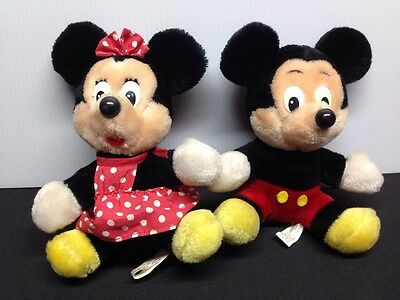 Authentic Disney Parks Mickey Minnie Mouse Plush Dolls/ Vintage Retro 1980's