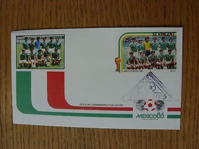 07/05/1986 World Cup Postal Cover: CC 1002 - Mexico Team - Stamp: Mexico Team (F