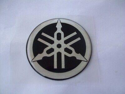 2 x Yamaha Emblem Aufkleber OVP Schwarz/chrom 45 mm neu