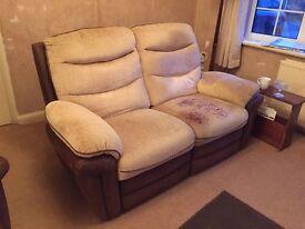 Brown & Cream Reclining 2 Seater Sofa.
