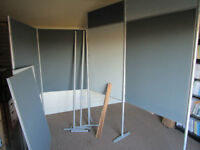 Set of display boards/panels and poles suitable for office, art, craft fairs etc - heavy duty