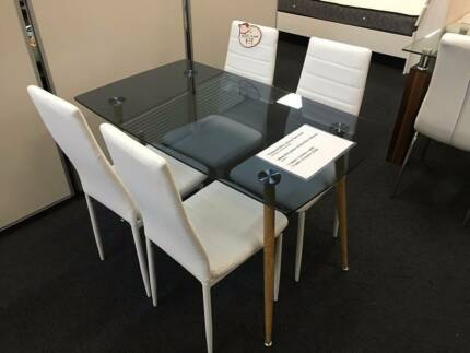 Brand New Tempered Glass Dining Table With Chairs Set