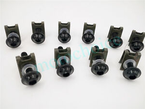 10PCS Motorcycle M6 6mm Fairing Bolts Spire Speed Clips Screw Spring Nuts Black