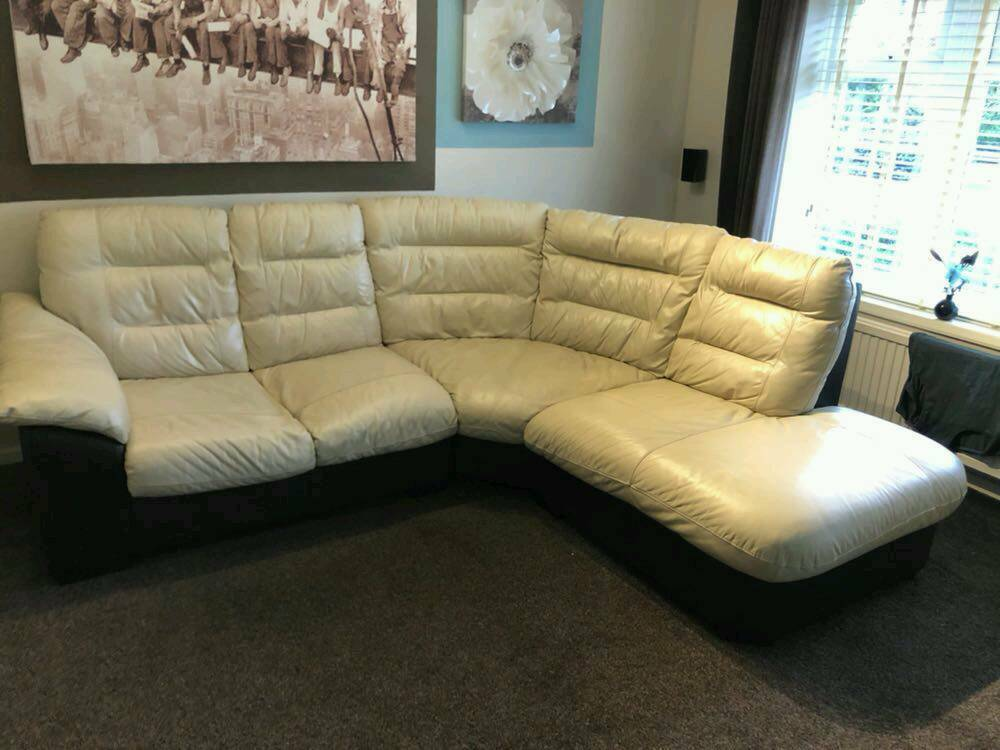 Corner Leather Sofa Cream And Brown In Lowestoft