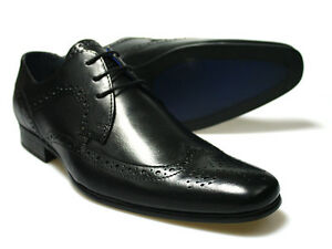 RED-TAPE-Louth-Negro-Hombre-Cuero-Zapatos-Oxford-GB-6-12