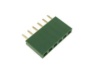 6-pin 2.54mm 0.1 Female Header Green - Pack Of 10