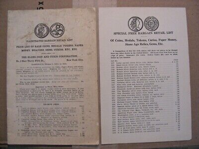 Vintage Illustrated Retail Price List from Thomas L. Elder Prominent Coin Dealer