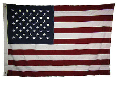 4x6 ft USA American 50 Star 100% Cotton Flag 4'x6' Banner Grommets w/ Clips