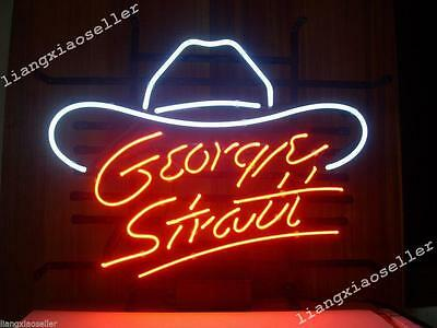 17X14 New Inche GEORGE STRAIT Cowboy Hat REAL GLASS NEON SIGN BEER BAR PUB LIGHT - Neon Cowboy Hat