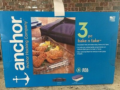 NEW In BOX Anchor Hocking 3 PC Bake- N- Take Bakeware Set Casserole Cover & (Covered Bakeware Set)