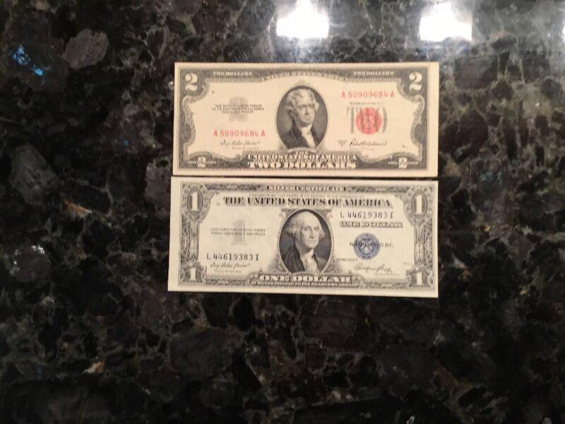 1953 A $2 United States Note + 1935 E $1 Silver Certificate