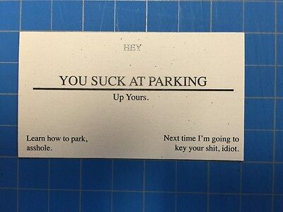 You Suck At Parking Offensive Business Cards - Pack Of 25