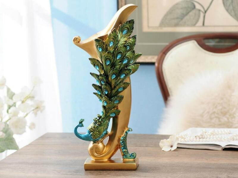 Beautiful Peacock Statue Vase with Embedded Jewels