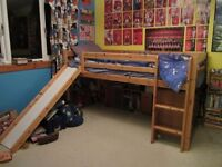 Mid-sleeper wooden bed with ladder and slide, no mattress, collect from Dunblane