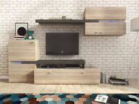 SUPER SALE YET 1-3 DAYS DELIVERY Wall Unit in 2 Colors Sanremo Oak and GRAY BRAND NEW