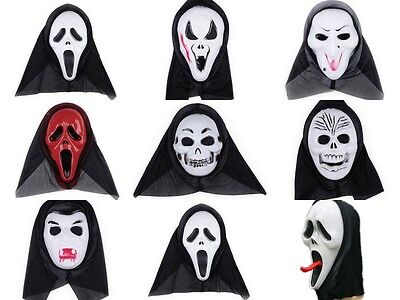 Halloween Party Cosplay Skull Ghost Scary Cowl Hat Scream Costume Mask Face Hood (Scream Halloween Party)