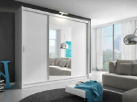 **7-DAY MONEY BACK GUARANTEE!** 3 Door Monaco Sliding Wardrobe Cupboard with Full Mirror