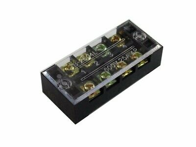 4 Position Screw Barrier Strip Terminal Block W Cover 25a250v