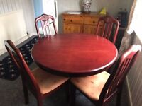 Wooden round Dining table with 4 chairs