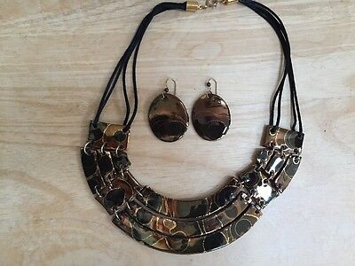 Handmade Necklace & Earring Set Craft Clay Fired Bronze Copper Black Gold