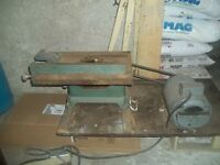 Antique over 100 yrs old table saw& wood cabinet