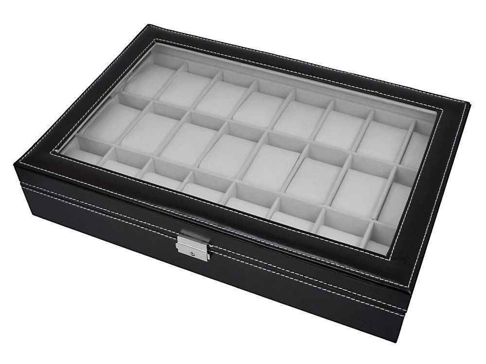 Watch Box Large 24 Mens Black Leather Display Glass Top J...