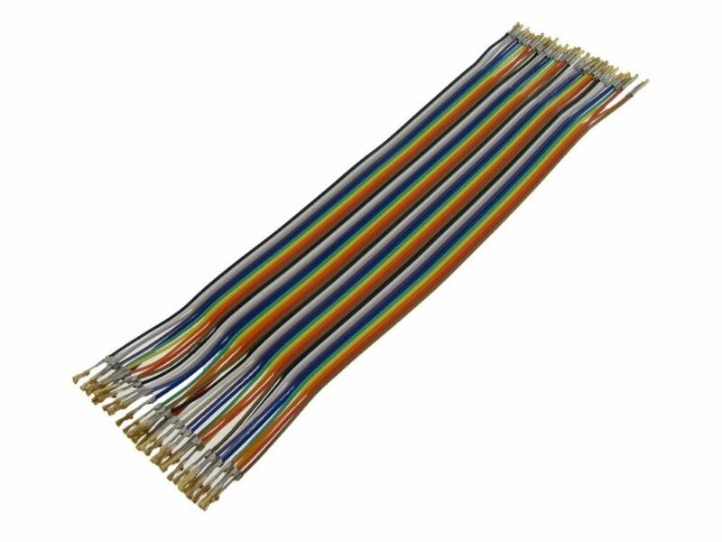HQ 40-Pin M-F Zippable Color Jumper Wire 2.54mm Pre-Crimped Gold Plated 20CM