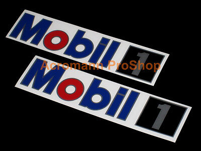 2x 12 30 5cm mobil 1 decal sticker one motor oil nascar f1 dtm btcc lubricant