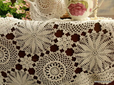 Woodland Fairy~Vintage Crochet Lace Tray Cloth Doily Off White Cotton~Snowflake
