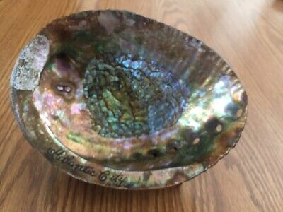 VINTAGE ABALONE MOTHER OF PEARL SHELL DISH SOUVENIER ATLANTIC CITY  for sale  Hegins