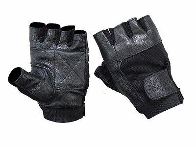 Mens Womens Elastic Leather Fingerless Black Motorcycle Riding Gloves Black Womens Bike Glove