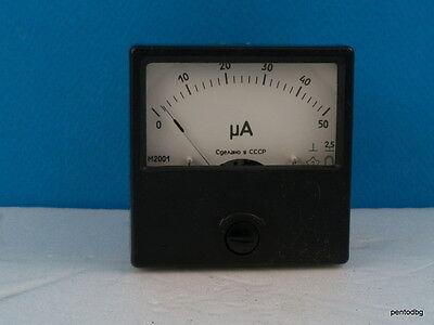 Analog Panel Micro Amper Meter 60mmx60mm Dc 0-50a 2.5 M2001 Ussr Rare