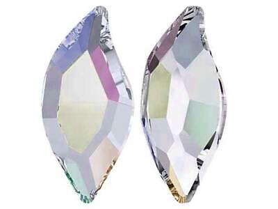 12 Swarovski Diamond Leaf Flatback HotFix 10x5mm Crystal AB coated # 2797 HF Hot Fix Diamond Leaf Crystal