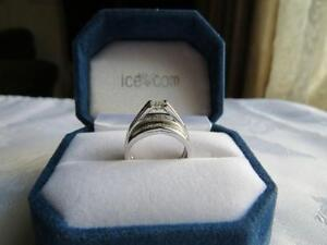 14K White Gold Engagement Ring and Wedding Band