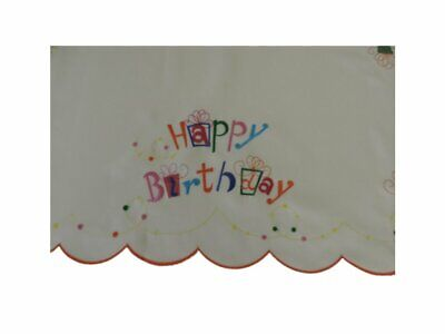 Tabletops Happy Birthday Decorative Table Runner 16 x 72 Embroidered White (Happy Birthday Table Runner)
