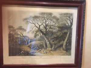 Antique Framed Woodcock Shooting Engraving Print  Hunting Picture