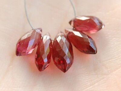 Natural Red Rubellite Garnet Faceted Chandelier Briolette Beads